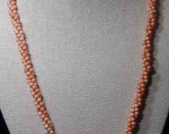 Orange Coral Colored Twisted Pearl Necklace