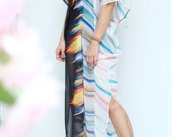 Black Rainbow Chiffon Beach Dress Swimsuit Bikini Cover Up | Casual Maxi Short Sleeve Dress | Spring/Summer Dress