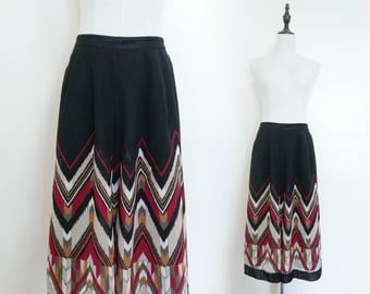 Black Red Squaw Indian Strip High Waist Pleated A-Line Vintage Midi Women Skirt