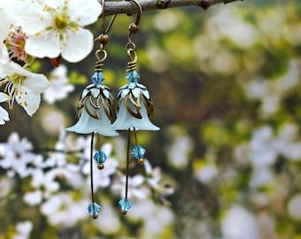 Blossom Earrings - Blossom Jewelry - Pale Blue Earrings - Pale Blue Jewelry - Pastel Blue Earrings - Dangle Drop Earrings - Flower Earrings.