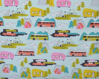 Retro Camping Fabric, Cotton Fabric, Quilting Fabric, Fabric by the Yard, Camping Fabric,