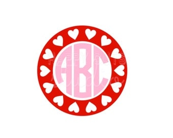 Valentine Monogram with Hearts Valentine's Day Vinyl Iron On Valentine's Day Iron On Decal Vinyl for Shirt 142