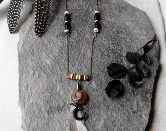 Necklace Black Moon, ethnic necklace, bronze chain, Brown wooden beads, feather and shells