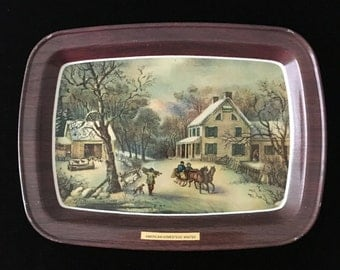 1960's Set Currier and Ives 4 Seasons Trays