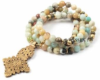 Amazonite Necklace | Ethiopian Cross Necklace | Boho Necklace | African Necklace | Coptic Cross Necklace | Long Beaded Necklace