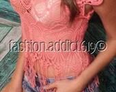 Coral Crochet Lace Fringe Boho Festival Sheer Lace Knit Sexy Cap Sleeve Beach Resort Vacation Bikini Cover Up Shirt Dress Top Tee Hippy
