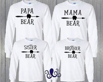 Mama Bear, Papa Bear, Brother Bear, Sister Bear, Family Bear Shirts, Bear Shirts,Mama Bear Shirt Set,Long Sleeve Bear Shirts