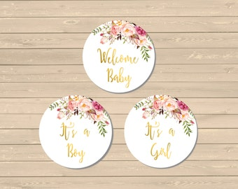 Gold Boho Cupcake Toppers, Floral Printable Cupcake Toppers, Boho Buffet Decor, Gender Neutral Topper, Gold Floral, Instant Download, 025-G