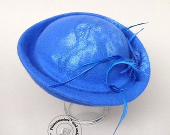 Fedora cocktail Hat hand felted Merino Wool design elegantly festive Royal Blue with feathers