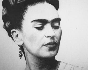 Frida Kahlo Pencil Drawing Portrait DIGITAL PRINT