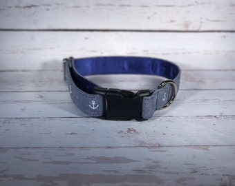 MADE TO ORDER- Blue Anchor Chambray Dog Collar, Choose width- Buckle or Martingale- add Embroidery and/or Leash