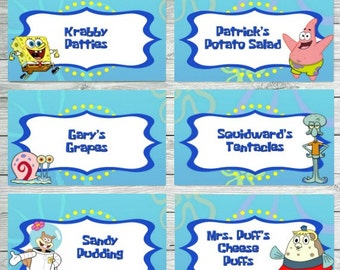 Spongebob Food Labels, Spongebob Birthday Food Labels, Spongebob Birthday Party Food Labels, Spongebob Food Tents Spongebob Food Label Tents