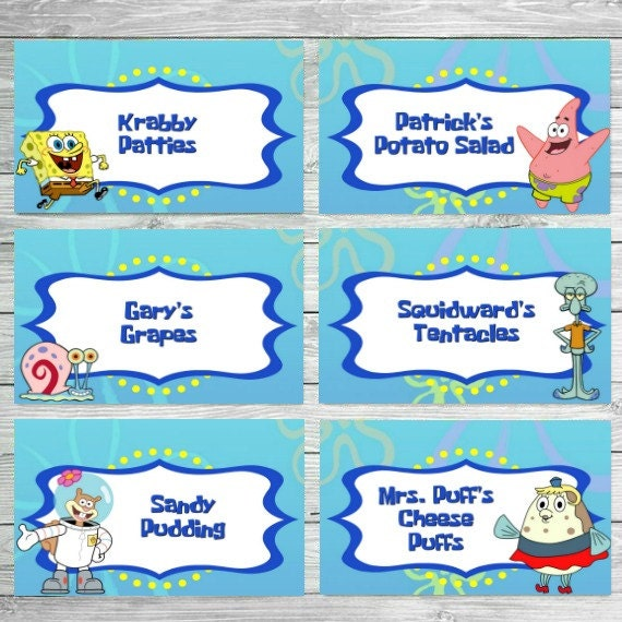 Spongebob Food Labels Spongebob Birthday Food Labels