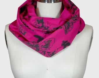 Infinity Scarf - Limited Edition Raspberry/Black Butterflies Print; Circle Scarf; Birthday Gift; Canadian Made; Canada150