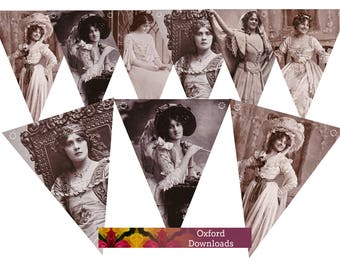 SALE Vintage Edwardian Bunting, Printable Bunting, Edwardian Actress, Postcard, Digital Download, Edwardian Dress, Hat, Parasol, Gloves