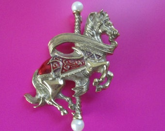 "Large Vintage ""1928"" Brand Carousel Costume Brooch Pin Horse 2 1/2 inches long"