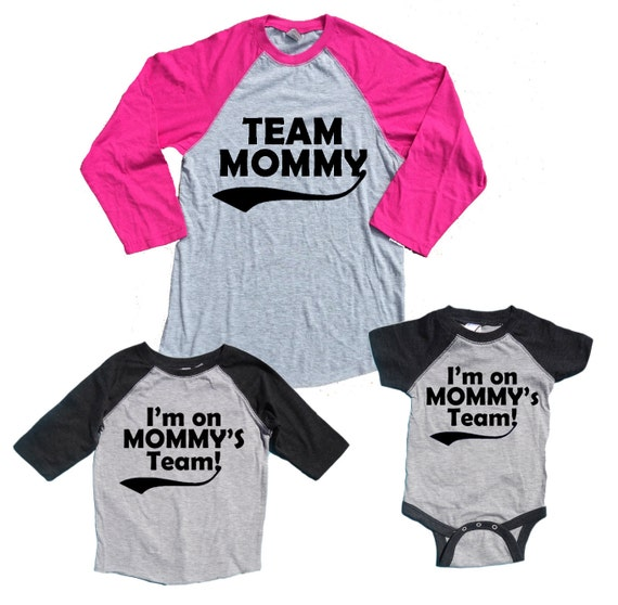 TEAM MOMMY Mother Son Baby Boys Matching Baseball Shirts