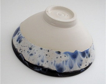 Handmade ceramic spot-the-hare bowl for soup, salad and dessert - handmade earthenware pottery