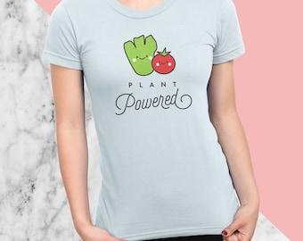 Plant Powered T-Shirt, Vegan, Vegetarian, Shirt, Plant-Based Clothing, Foodie, Healthy, Lettuce, Tomatoes, Vegetables, American Apparel