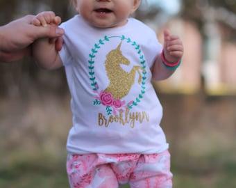 Unicorn Shirt, Girl's Unicorn Shirt, Personalized Unicorn Shirt, Personalized Shirt for Girls, Girls Name Shirt, Baby Girl Unicorn Shirt