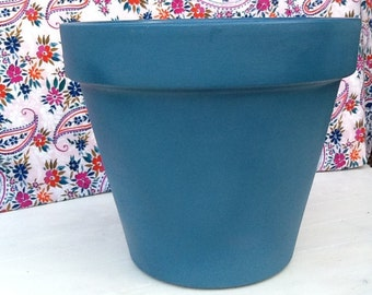 Teal Painted Plant/Flower Pot (various colours, sizes and designs available)