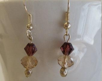 Purple and clear brown beaded earrings