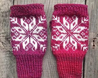 Norwegian gloves, fair Isle red gloves, wool gloves, wool mittens, women mittens, norwegian gloves, scandinavian, fair isle mittens