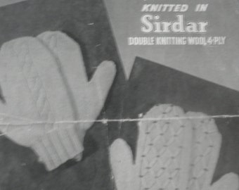 Vintage 1930's Lady's Mittens knitting pattern, Harrap Bros Design no 409