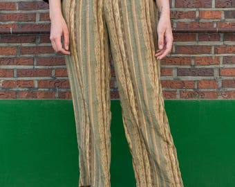 Seafoam pants / High waisted pants / Vintage trousers / Straight-leg pants / Brown and green / Patterned pants / Japanese vintage / Size M