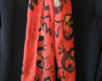 Pomegranate on Red: Hand-painted Silk Chiffon Scarf with Armenian pomegranates made of mosaic. Red Scarf. Gift for Her.