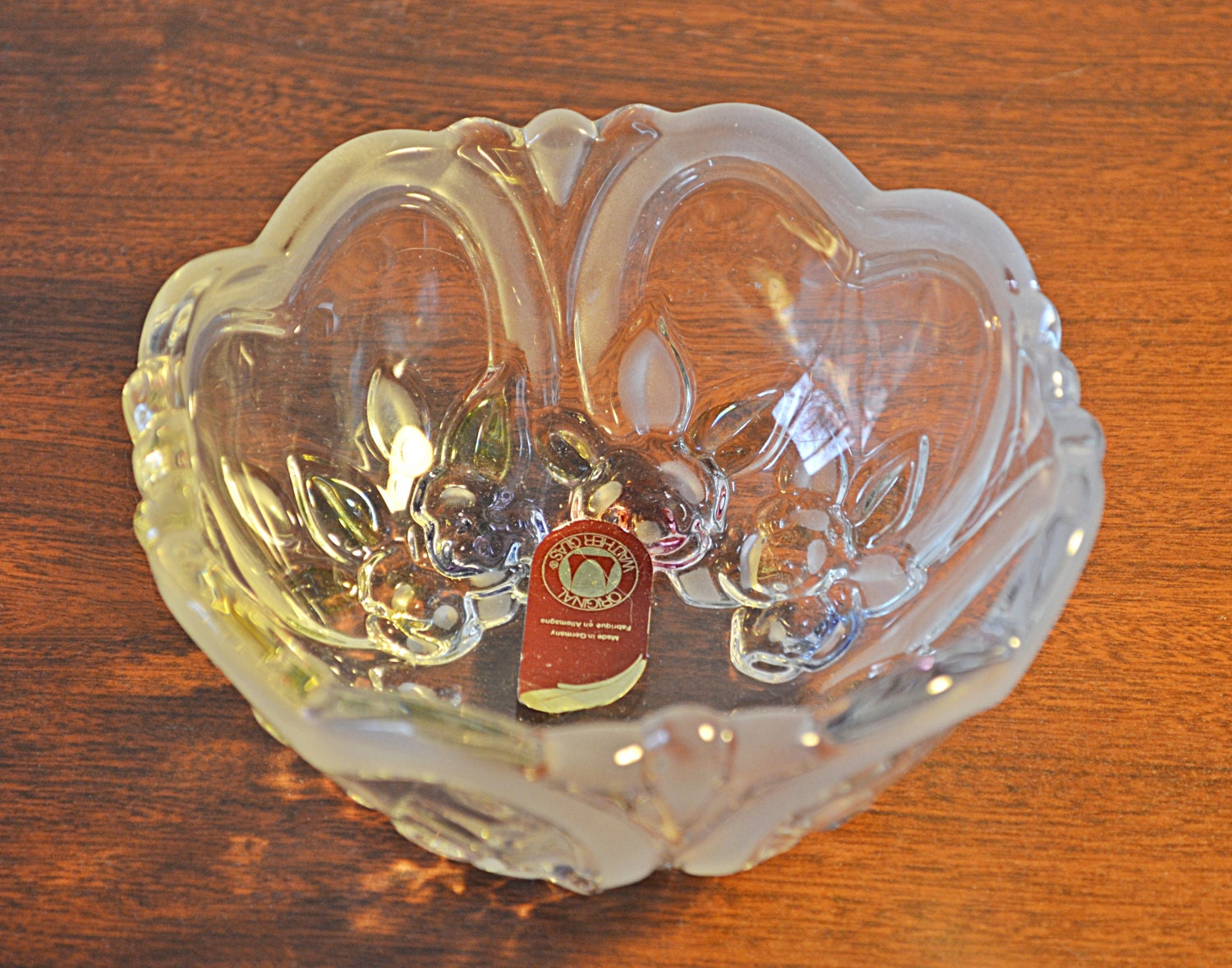Walther glas candy dish vintage heart shaped design glass for Heart shaped jewelry dish