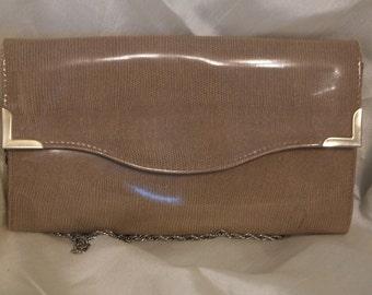 Vintage bag - Beige patent snakeskin pattern by Maxfield
