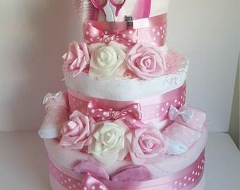 3 Tier Nappy Cake - Baby Girl