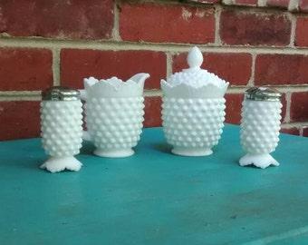 Fenton hobnail shaker set and creamer and sugar bowl 1960s milk glass salt pepper shakers creamer and lidded sugar bowl hobnail milk glass