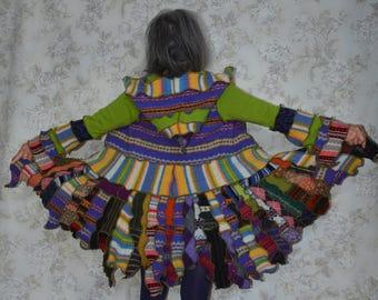 Katwise inspired upcycled sweater coat -Bird of Paradise, Pixie coat, Hippie style, Boho clothing -SMALL