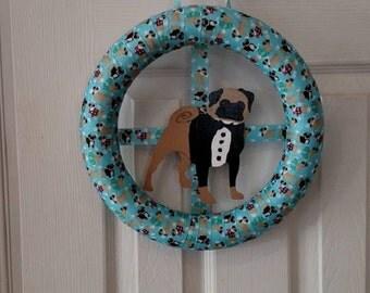 Tuxedo pug wreath