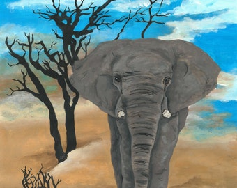 Elephant. Prints of my acrylic painting on canvas paper A3 sized prints can be A3 or A4