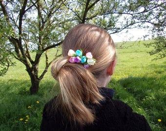 Decorative hair comb / Barrette kanzashi/flowers pink, purple, blue, yellow, cream/Fleur kanzashi/clip hair/Ribbon satin