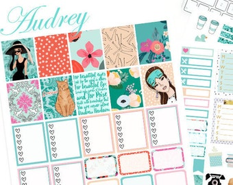 Breakfast at Tiffany's Printable Planner Stickers, Audrey Hepburn stickers, fashion girl, Weekly Kit, use with Erin condren, Chic, blue, cat