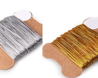 20yard Gold/Silver yarn,gold yarn,silver yarn,holiday gift wrapping,christmas gift,gold gift,silver gift,gold ribbon,silver ribbon,cute yarn