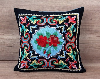 Black boho pillow, cross-stitched cushion with ruby red rose throw, colonial floral paisley pillow shams 16 x 16 (40 x 40 cm) ~ housewarming