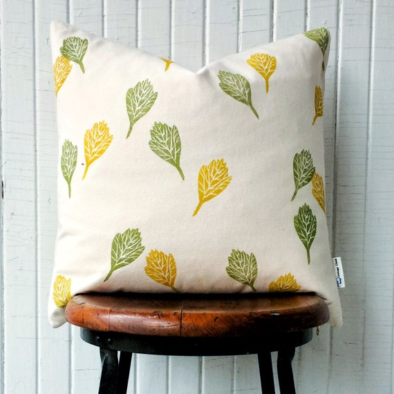 """Accent pillow cover, throw pillow, hand-printed organic cotton 18"""", one of a kind Hawthorn leaves in golden yellow and moss green"""