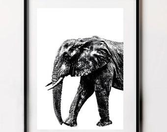 Large Elephant Poster, Nursery Elephant Print, Black and White Elephant Print, Elephant Print, Elephant Poster, Black and White Wall Art
