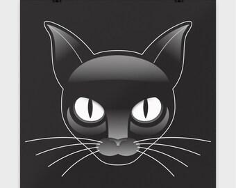 "BLACK CAT FACE - Art Print - Cat Lover Gift - Wall Decor - Cat Woman - 16 x 16"" Poster"