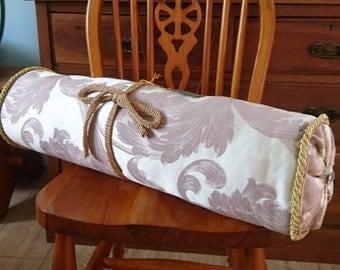 Hand Made Bolster Cushion - Cream/Dusky Pink/Gold