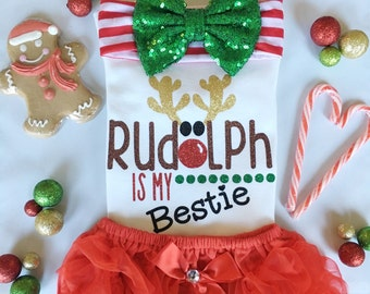 Baby girl christmas /Rudolph is my bestie bodysuit/ rudolph onesie/ christmas outfit/ baby girl outfit