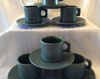 Stunning set Beauce pottery Cartier signed 6 cups and saucers