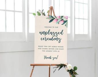 Printable Wedding Sign, Unplugged Wedding Sign, Unplugged Ceremony Sign, Floral Wedding Sign, Pink Floral Wedding Sign, Modern Ceremony Sign