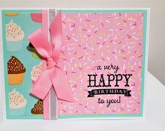Happy Birthday Cupcakes & Sprinkles, Birthday Card, Handmade Birthday Card, Sprinkles Birthday Card, Cupcakes Birthday Card