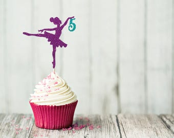 12 Ballerina Cupcake Topper Set - Ballet Party - Birthday Party - Decoration - Glitter